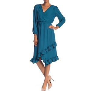 NWT Laundry Shelli Segal Teal Blue Ruffle Dress